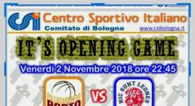Opening game Campionato: venerdì 2 novembre!